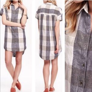 Old Navy Plaid Linen Button Front Shirt Dress